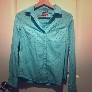Teal polka dot button down